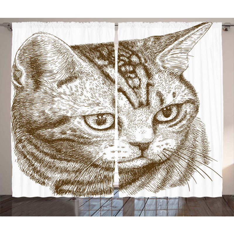 Portrait of a Kitty Hipster Curtain