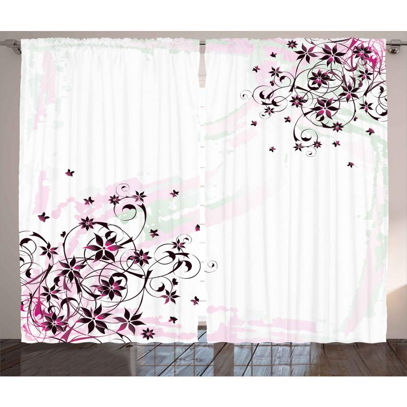 Grunge Flower Motif Leaf Curtain