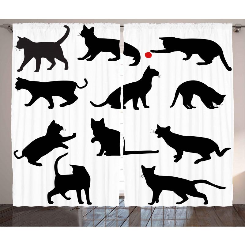 Red Ball Animal Pet Kittens Curtain