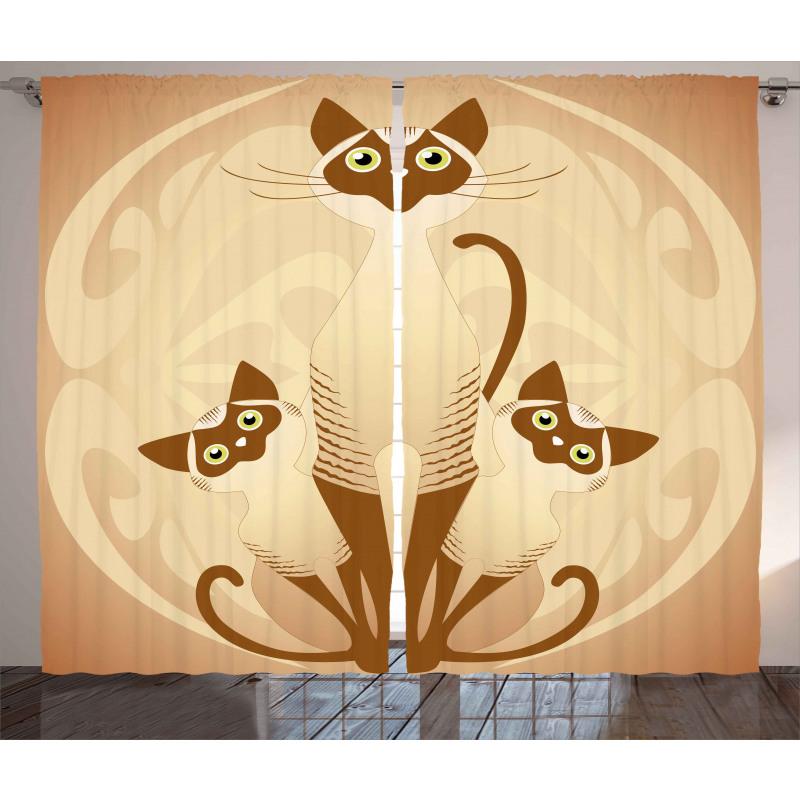 3 Siamese Cats Curtain