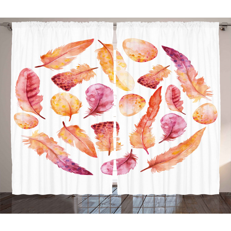 Dark Watercolor Feathers Curtain