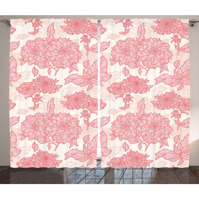 Pink Flowers and Leaves Curtain