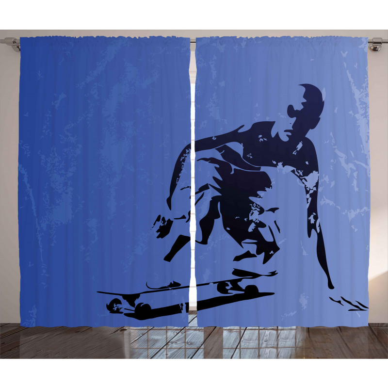 Abstract Vector Skaters Curtain