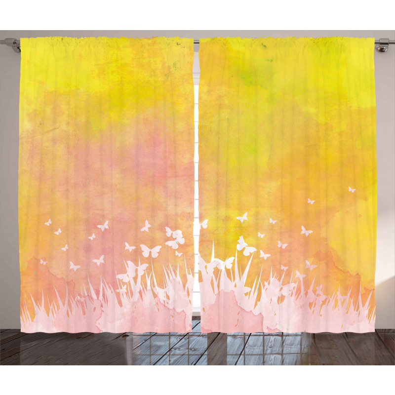 Flower Butterfly Colored Curtain