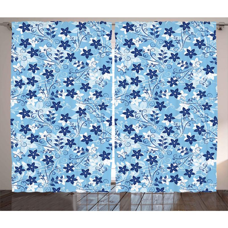 Floral Pattern Swirl Curtain