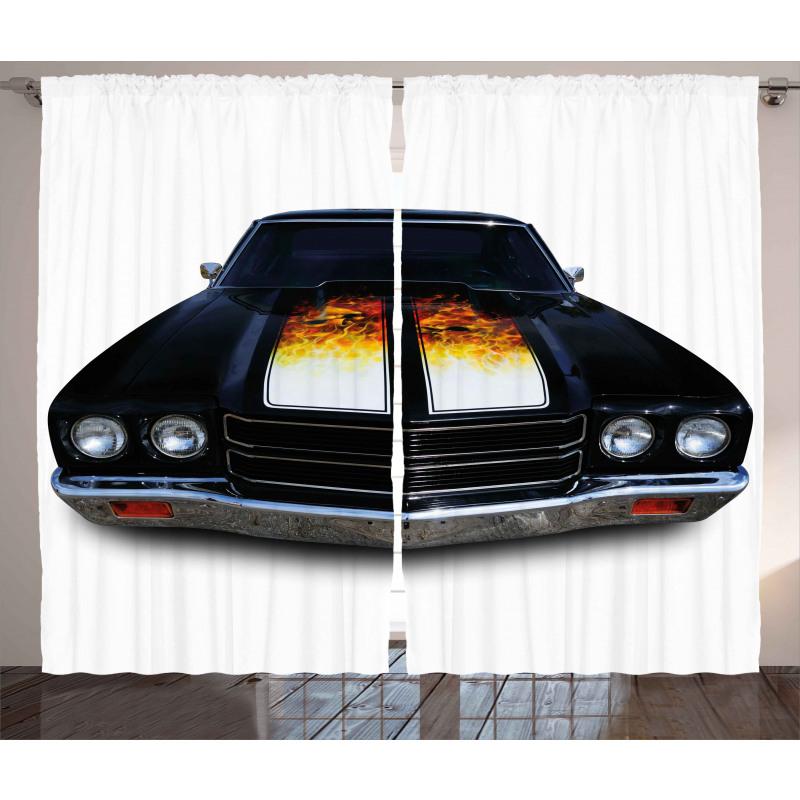 Vintage Retro Car Flame Curtain