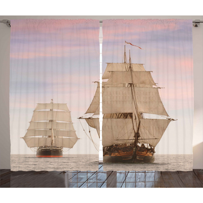 Wooden Sailing Ship Waves Curtain