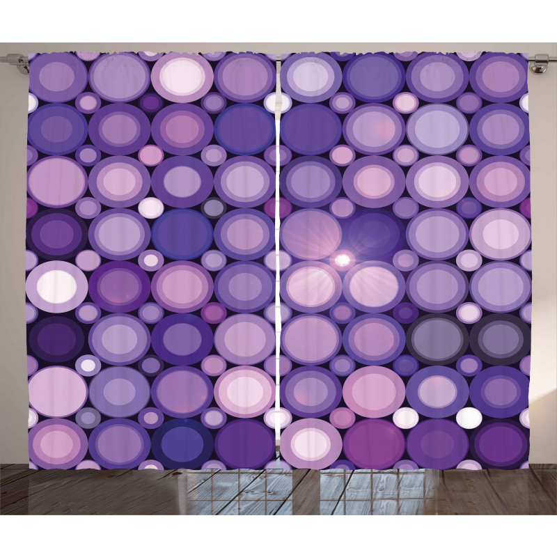 Geometric Violet Circles Curtain