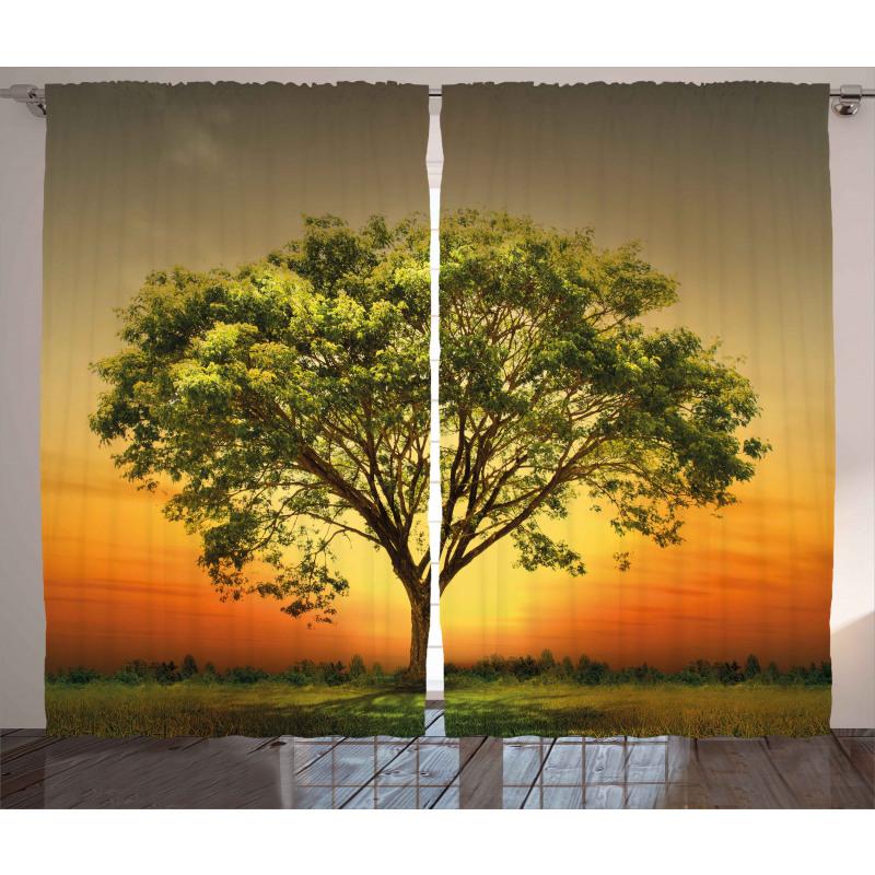 Sunset Scenery Valley Curtain
