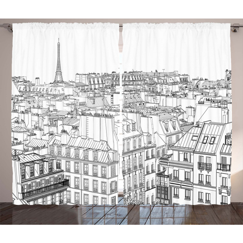 Roofs in Paris and Eiffel Curtain