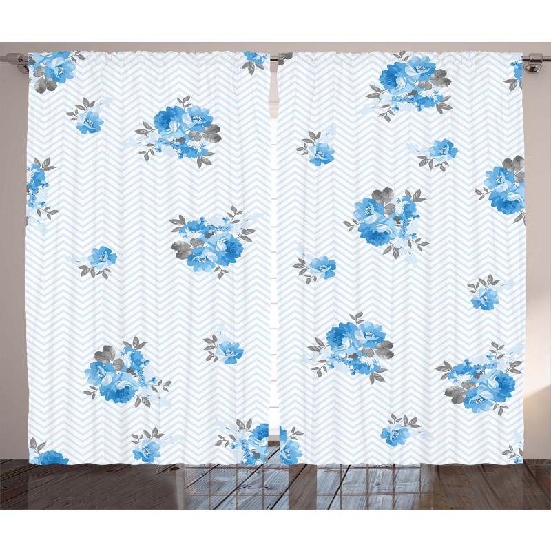 Blue Color Romantic Flower Curtain