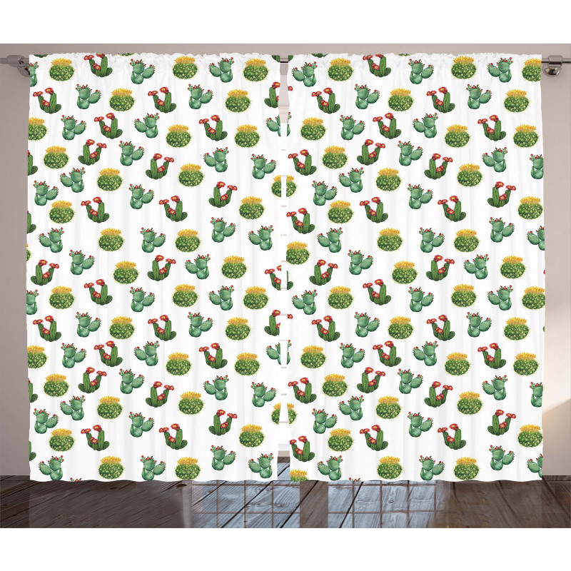Cactus and Suculent Print Curtain