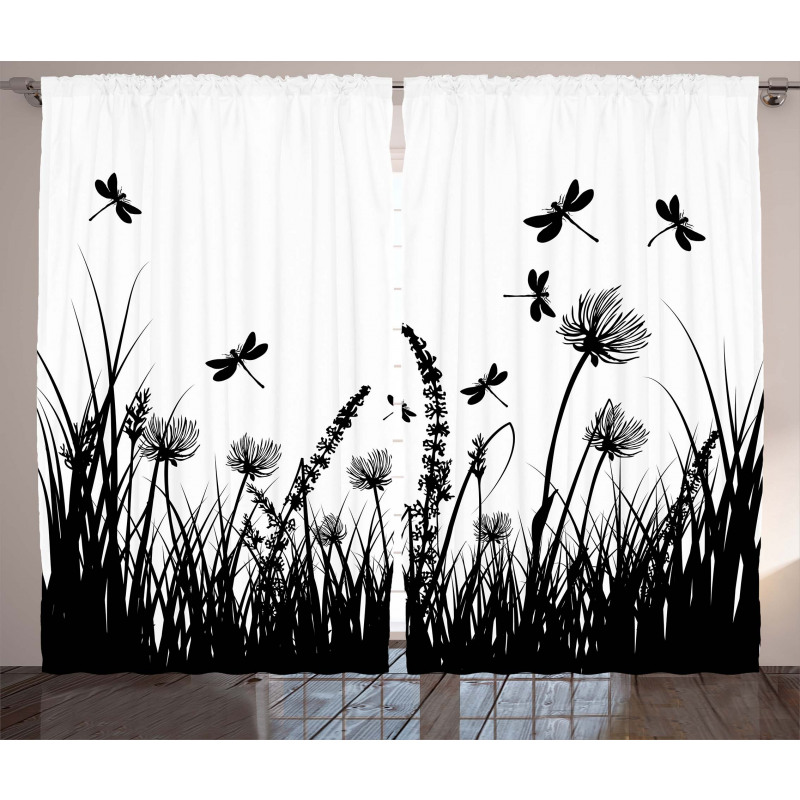 Grass Bush Meadow Spring Curtain