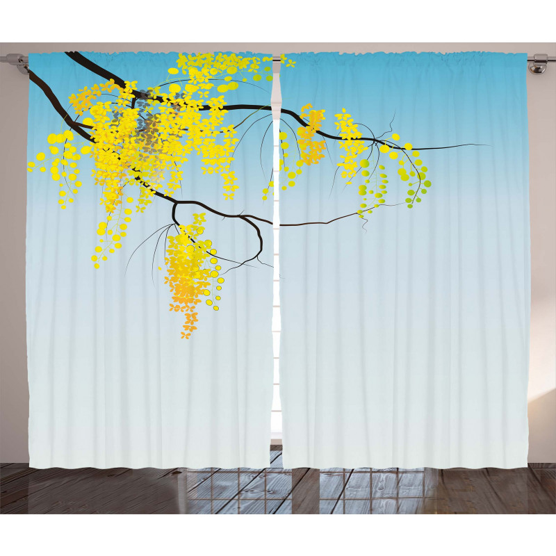 Flowers Bud Blossom Artwork Curtain