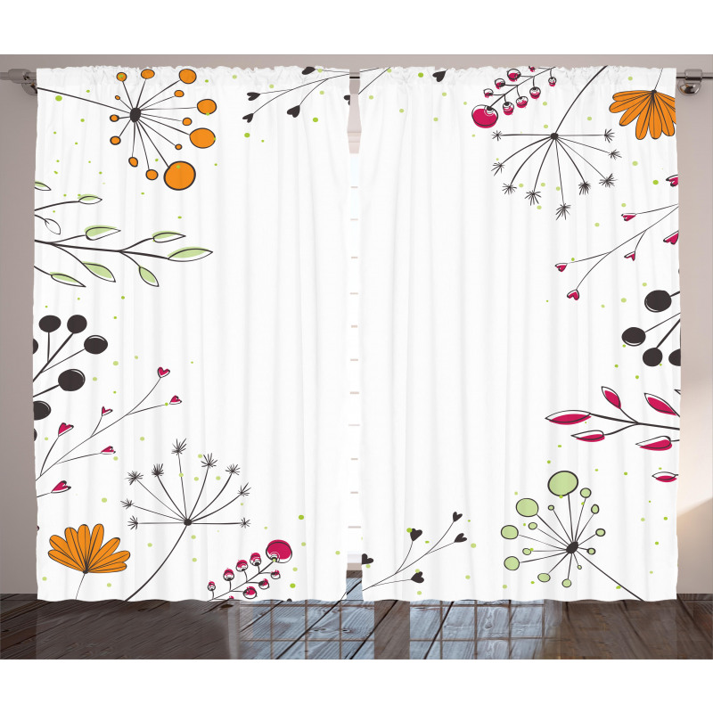 Geometric Flowers Floral Curtain