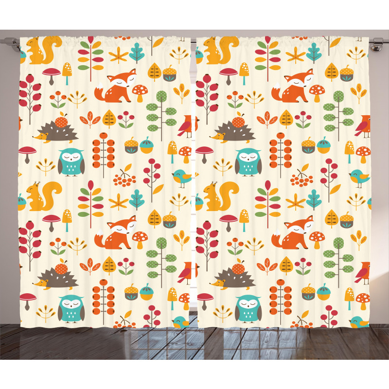 Owl Fox Squirrel Birds Curtain