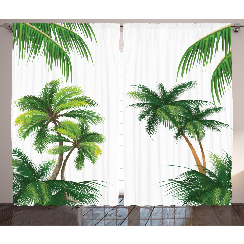 Coconut Palm Tree Plants Curtain