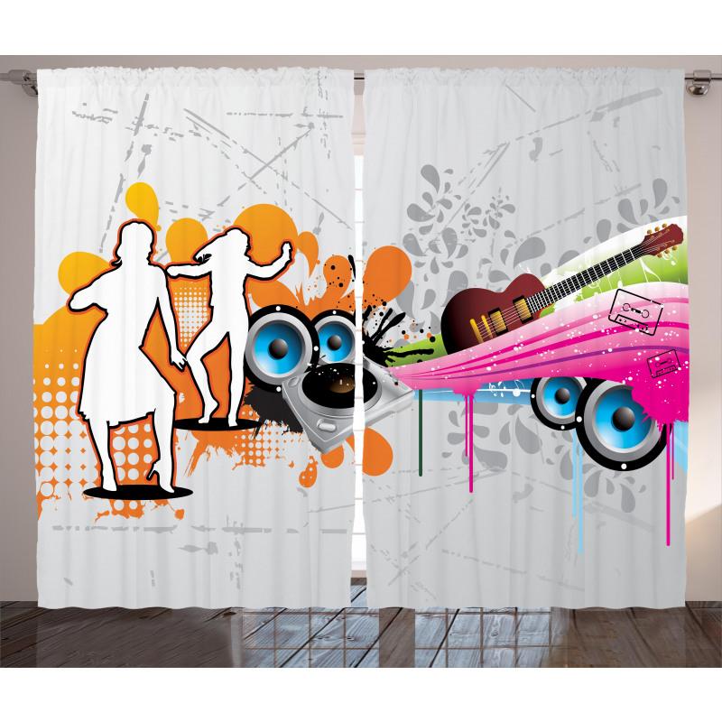 Music Funky Urban Nights Curtain