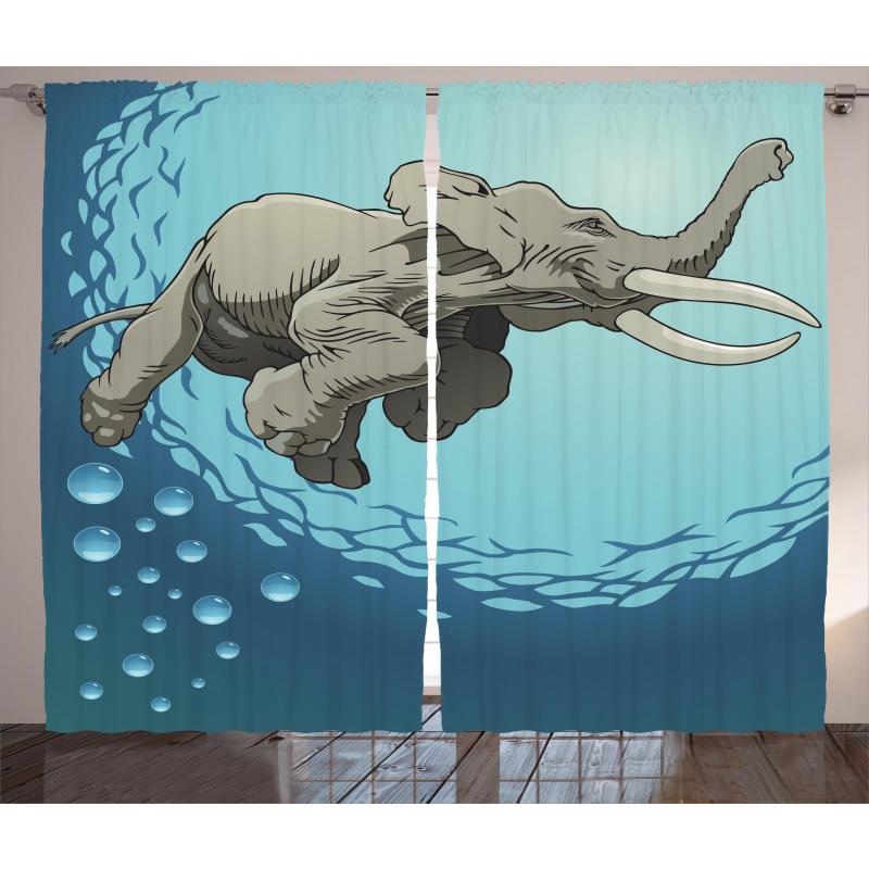 Elephant in Tropic Ocean Curtain