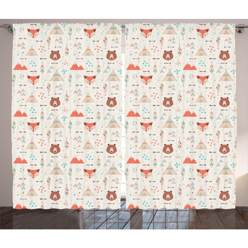 Fox Bear Arrows Curtain