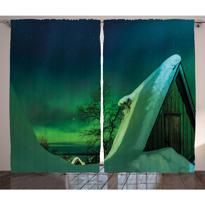 Wooden House Winter Curtain