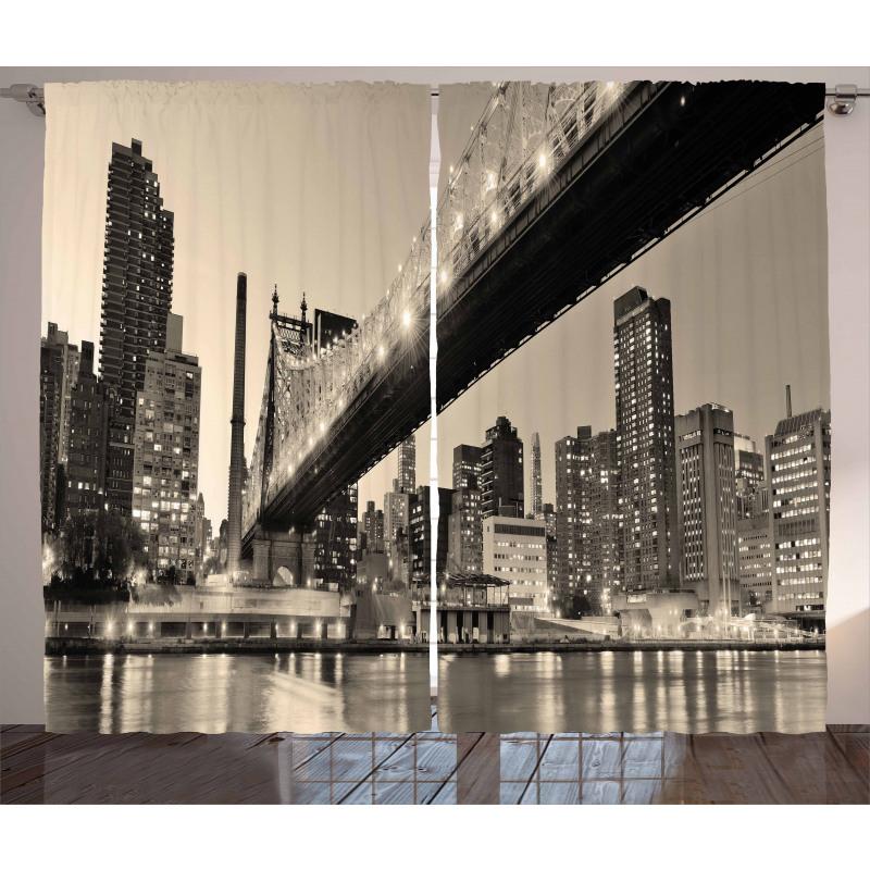 NYC Night Bridge View Curtain