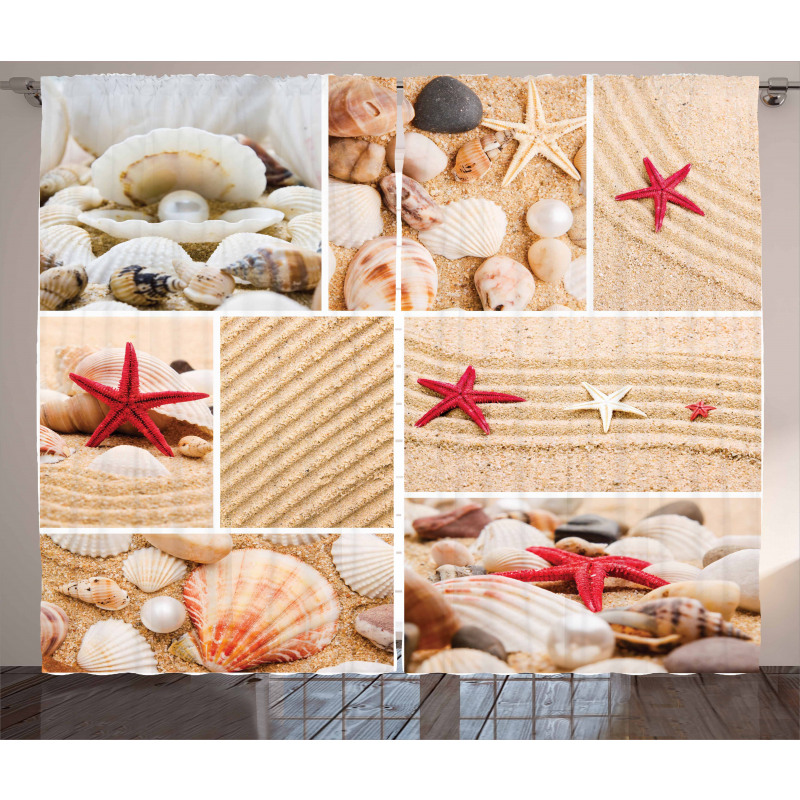 Seashells Starfishes Curtain