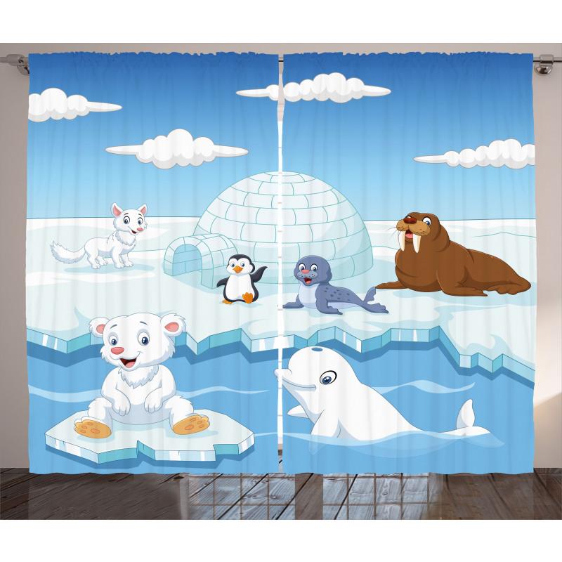 Polar Bears Seal Penguins Curtain