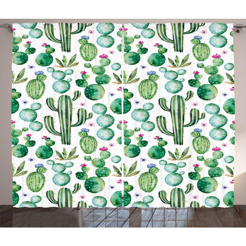 Mexican Cactus Plants Curtain