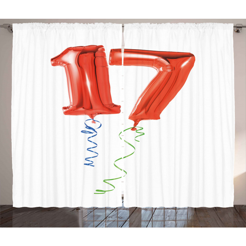 17 Party Red Balloons Curtain