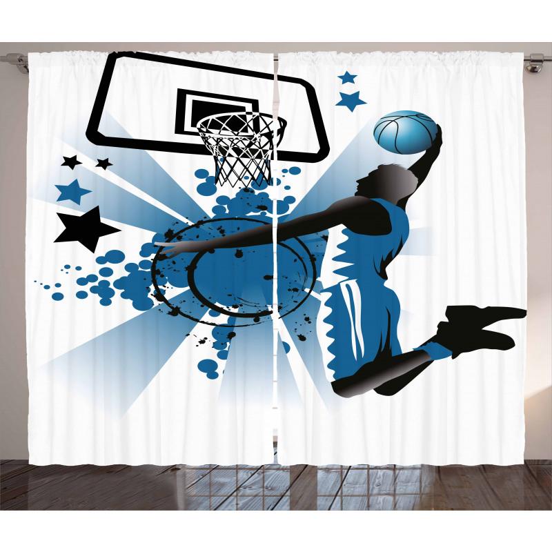 Spor Perde Mavi Basketbol Oyuncusu