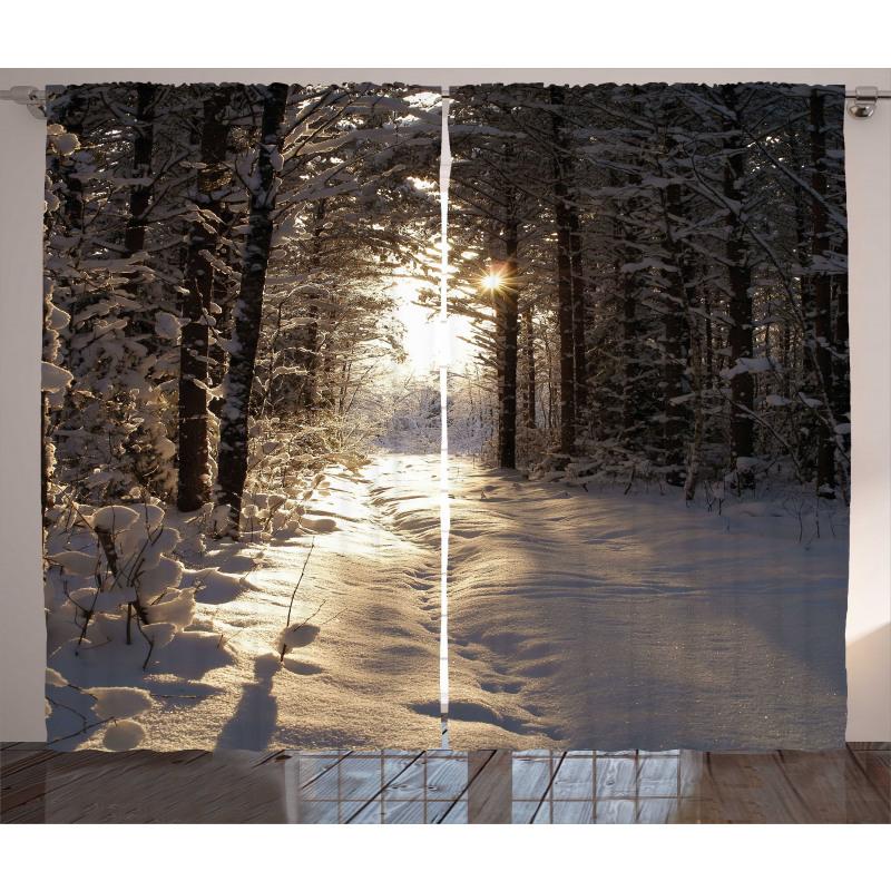 Christmas Snow Forest Curtain