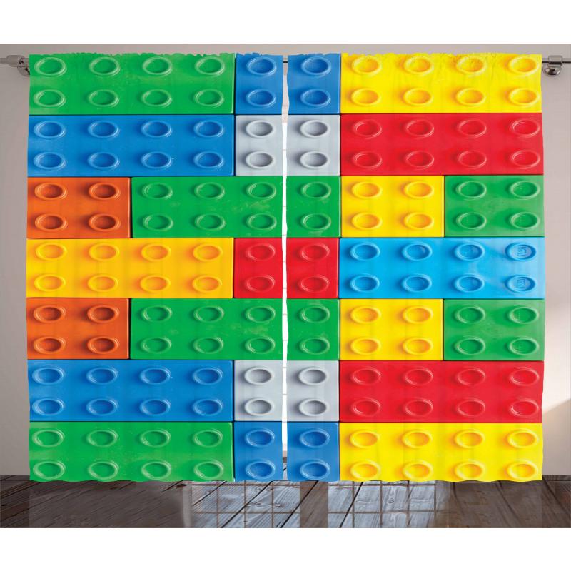 Oyun Perde Rengarenk Geometrik Oyuncak Blok Parça Deseni