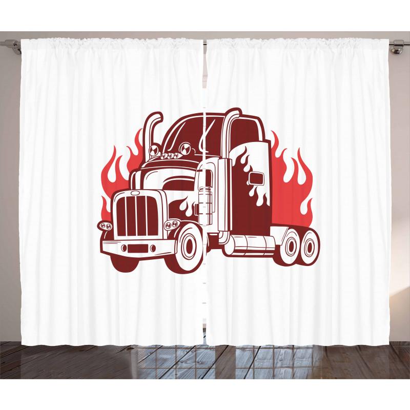 18 Wheeler Silhouette Curtain