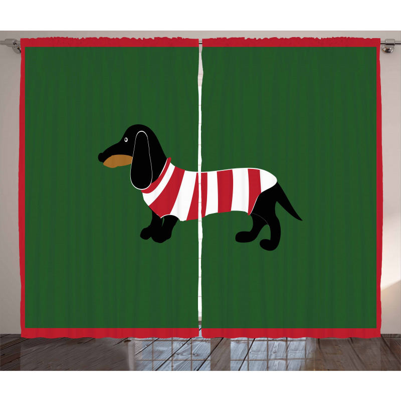Canine Cartoon Dog Curtain