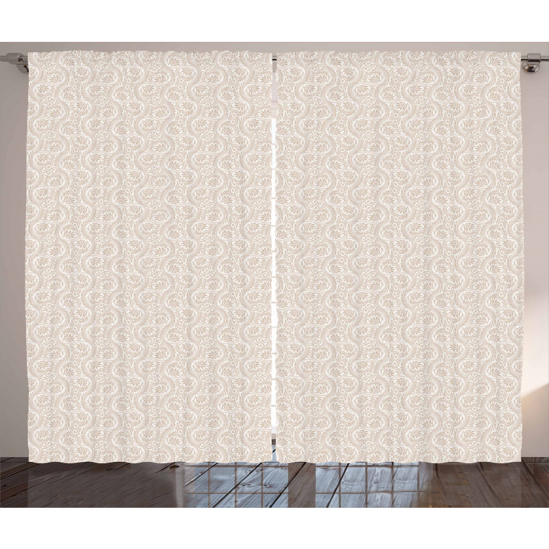 Abstract Floral Scroll Curtain