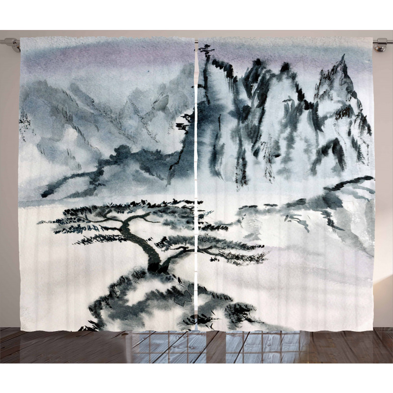 Chinese Mountain Tree Curtain
