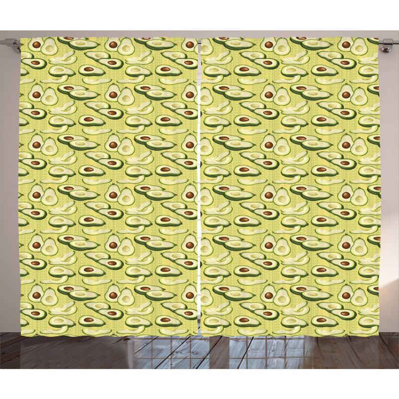 Avokado Perde Yazılı Arka Plan Üzerinde Sağlıklı Meyveler