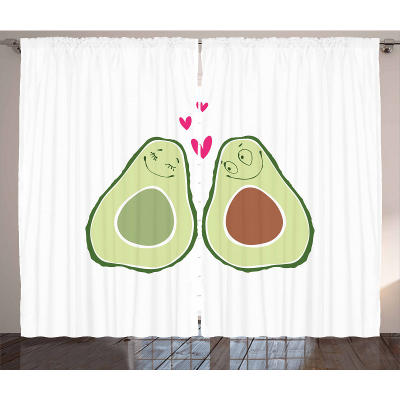 Avokado Perde Birbirlerine Aşık Sağlıklı Meyve Sevgililer