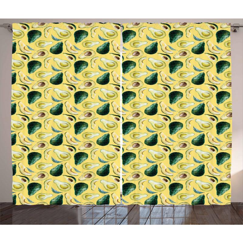 Avokado Perde Sulu Boya Tarzında Çizilmiş Sağlıklı Meyve