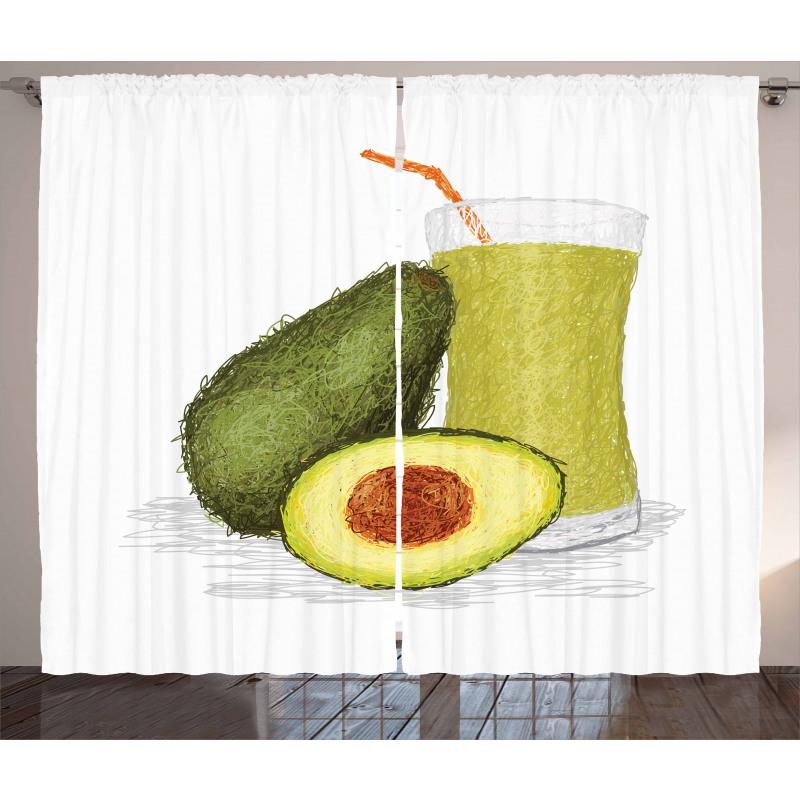 Avokado Perde Sağlıklı Meyve ve Suyundan İçecek Model