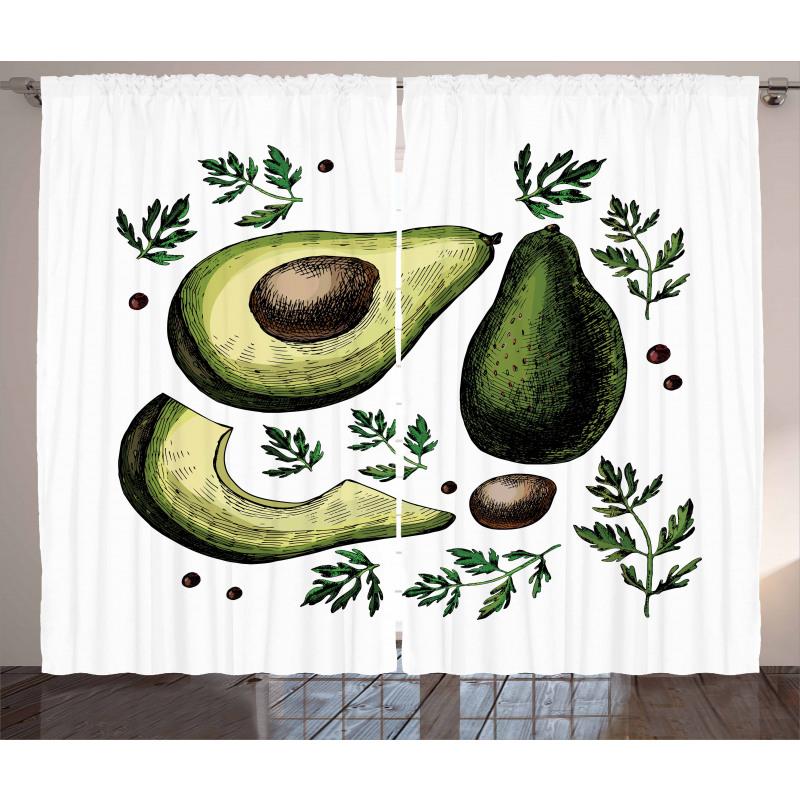 Avokado Perde Farklı Parçaları Gösterilen Sağlıklı Meyve