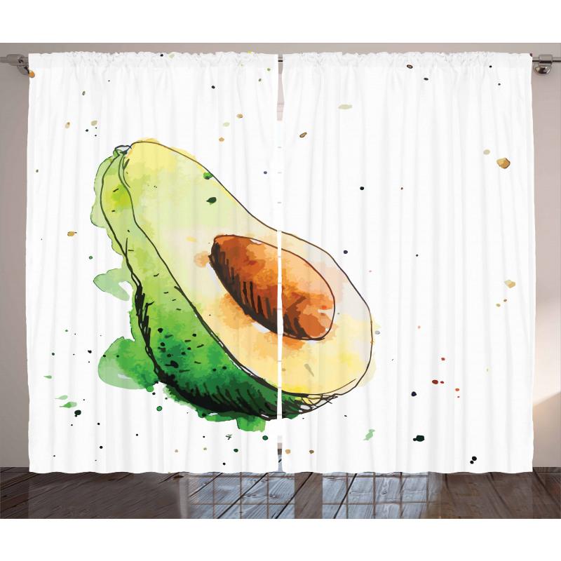 Avokado Perde Taze Sağlıklı Meyvenin İllüstrasyonu Model