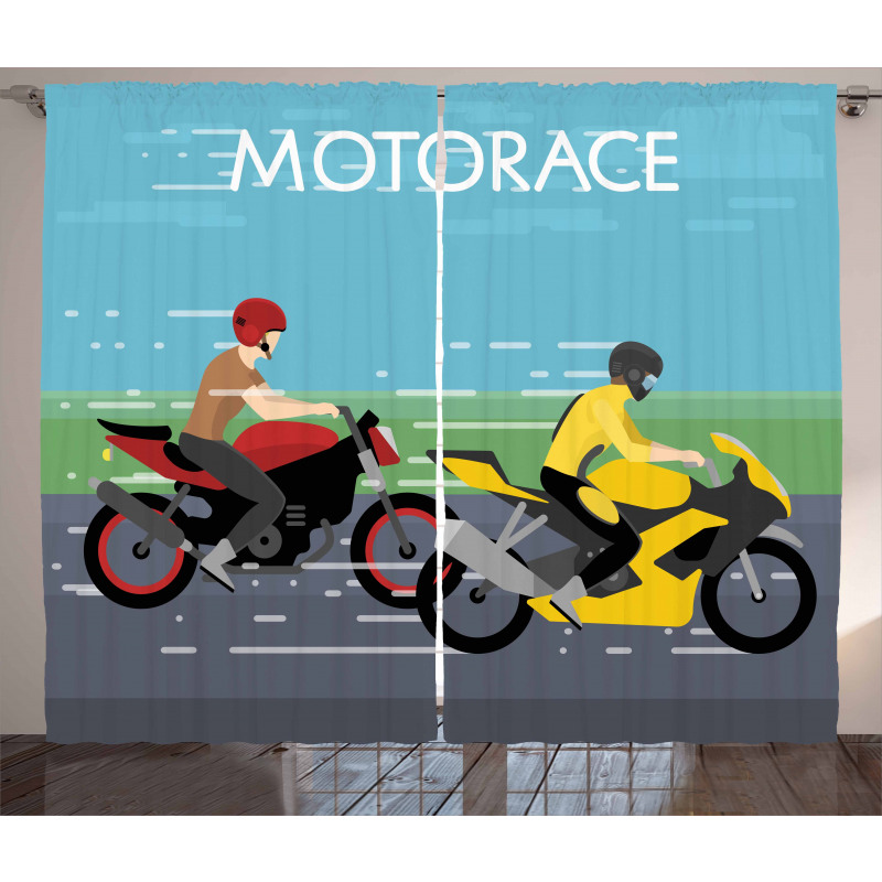 2 Bikers Racing Curtain