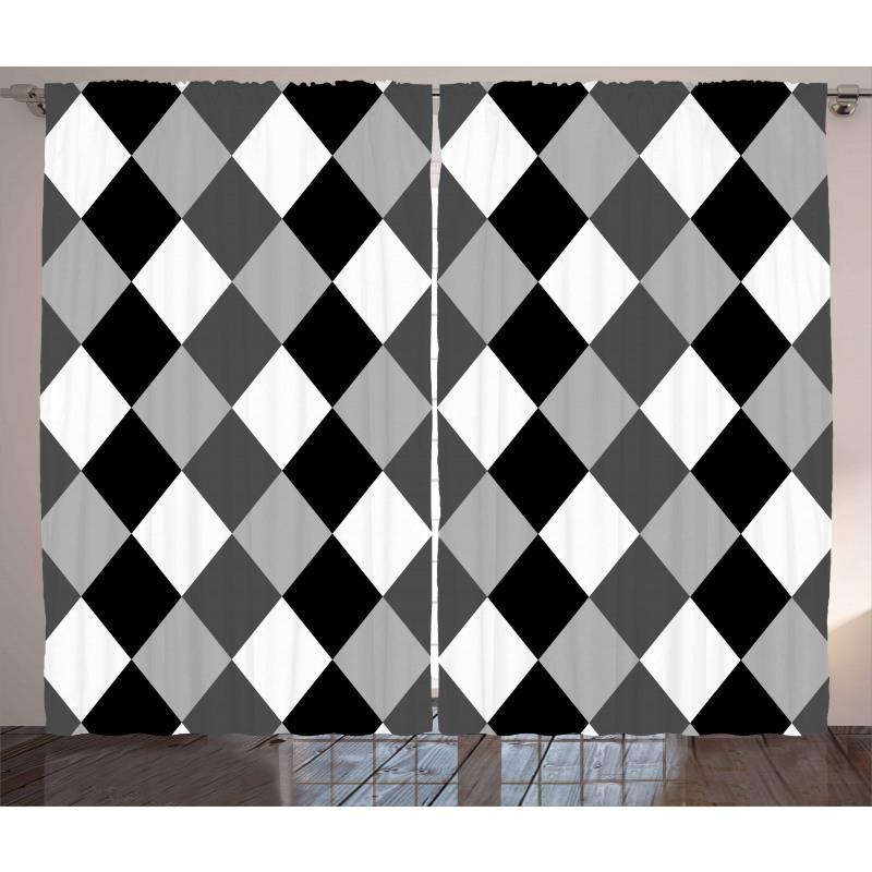 Black and White Rhombus Curtain