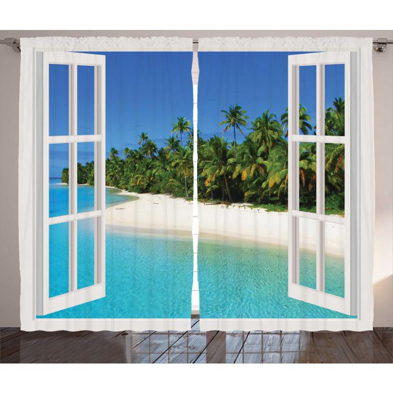 Paradise Island Palm Tree Curtain