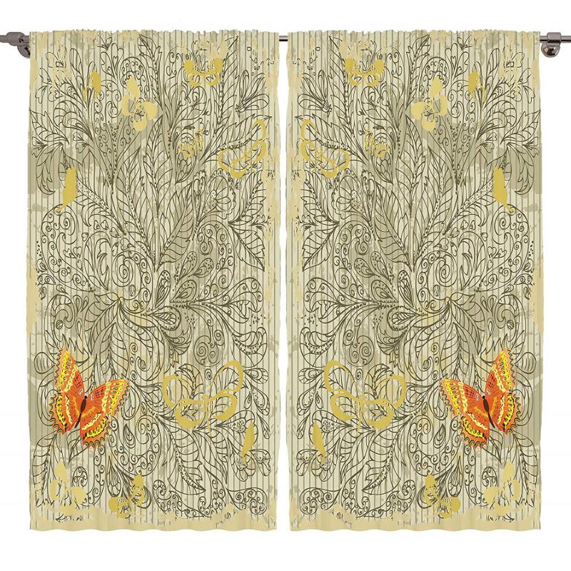 Botanical Leafy Butterfly Curtain