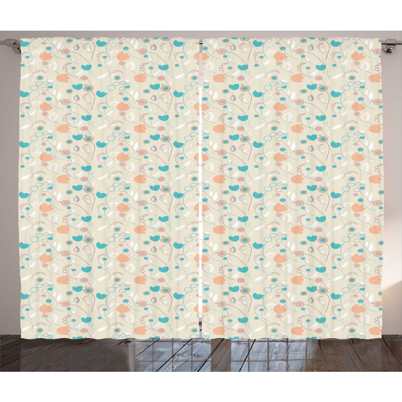 Abstract Art Floral Doodle Curtain
