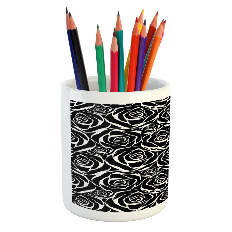 Abstract Art Rose Flowers Pencil Pen Holder