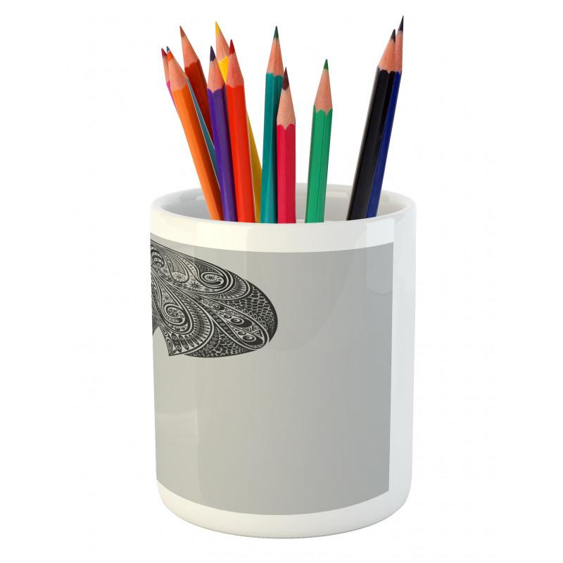 Abstract Art Skull Beard Pencil Pen Holder